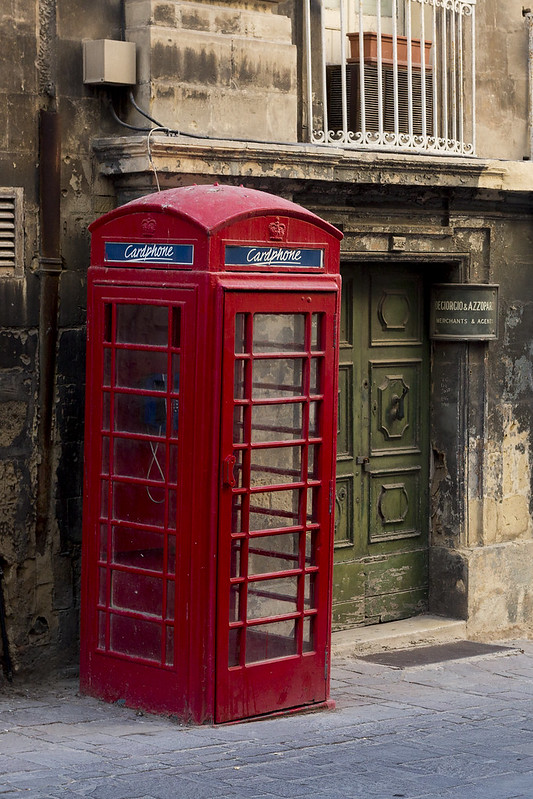 Classic red telephone box in Malta