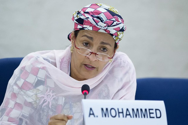 """Amina Mohammed, United Nations Secretary-General's Special Adviser on Post-2015 Development Planning a Thematic discussion on """" The contribution of the Economic and Social Council to the elaboration of the post-2015 development agenda as a principal body for policy review, policy dialogue and recommendations on issues of economic and social development and for the follow-up to the Millennium Development Goals"""" during the United Nations Economic and Social Council ( ECOSOC ). Thursday 4 July. Photo by Jean-Marc Ferré"""