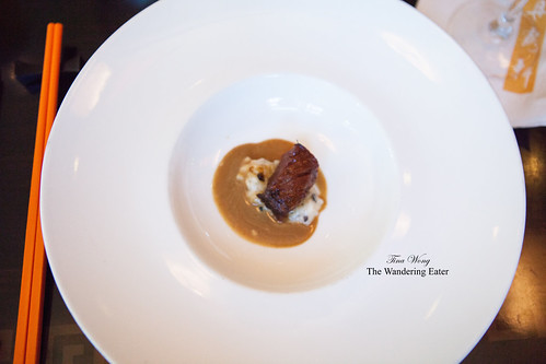 Amuse bouche, gratis from Chef Patrick Feury - Wagyu beef with black truffle risotto and black truffle emulsion