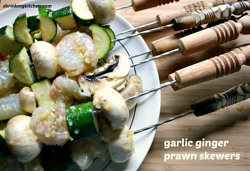 garlic ginger prawn kebabs