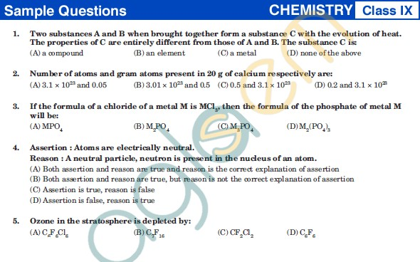 UCO 2013 Sample Papers for Class IX - Chemistry