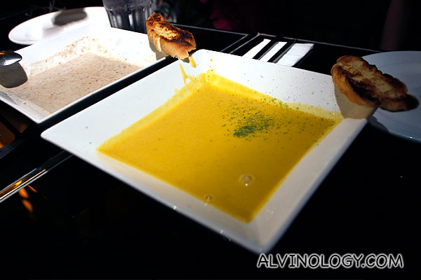 Signature mushroom soup - S$8.90 and pumpkin soup - S$7.90