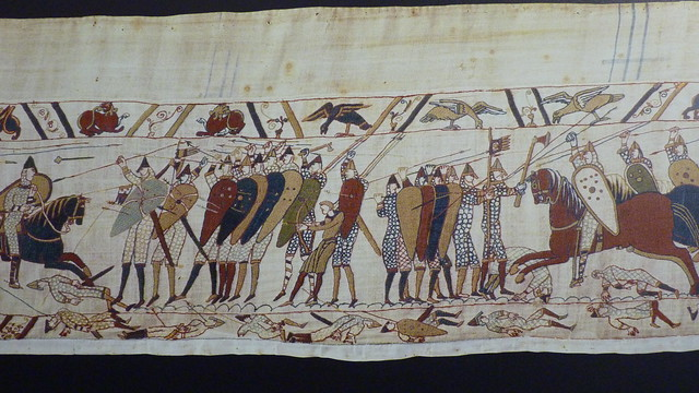 Bayeux Tapestry repro - English shield wall v Norman cavalry