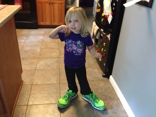 "Wearing Daddy's ""Hulk"" shoes"