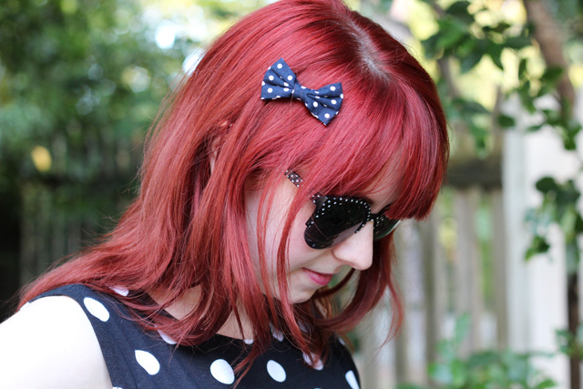 Polka Dot Hair Bow on Red Hair