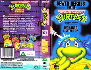 "TEMPO VIDEO ::  ""TEENAGE MUTANT HERO TURTLES"" 'SEWER HEROES' SERIES - ""LEONARDO LIGHTENS UP"" ..U.K. VHS sleeve (( 1994 ))  [[ Courtesy of HERO ]]"