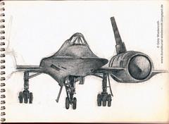 Flugzeug, Militaer, USAF, Aufklaerung, reconnaissance, Lockheed, SR-71, Ueberschall, supersonic, Bleistift auf Papier