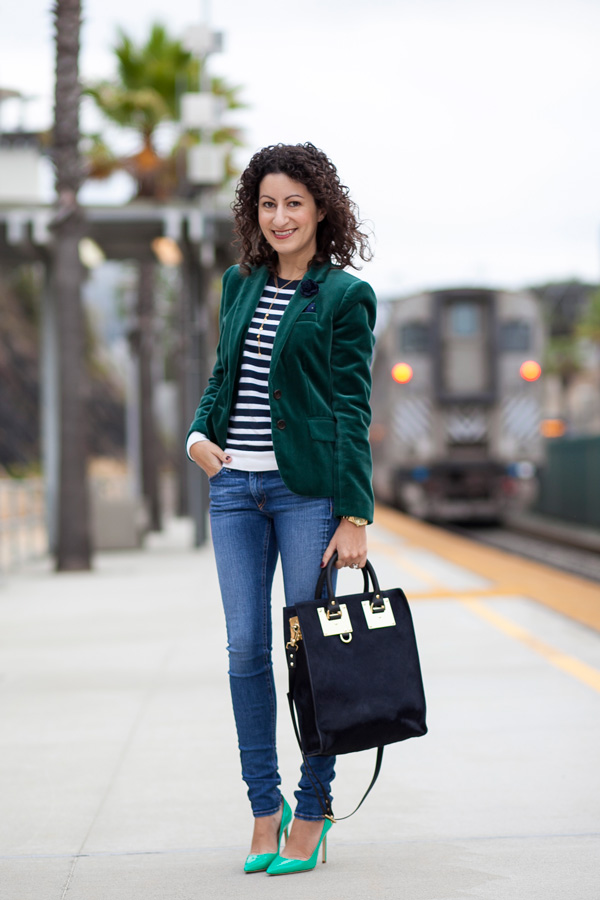 green velvet blazer, sophie hulme hair-calf mini tote, petite fashion blogger, san diego