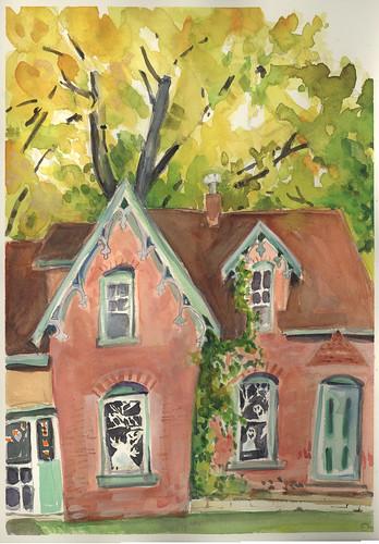 autumn watercolor urbanlandscape cedarfallsiowa marciamilnerbrage
