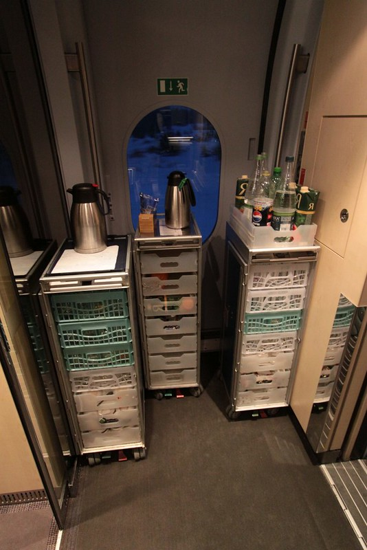 Food and drink trolleys onboard the Sapsan train