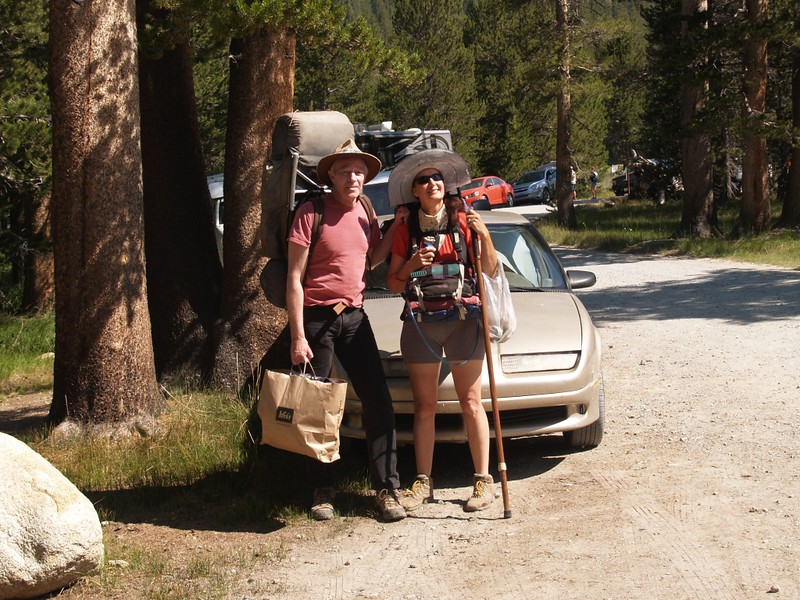 Parked the car near Lembert Dome ready to hike to the Backpacker Camp