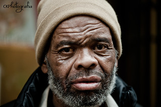 Homeless man on Fairlie-Poplar historic district