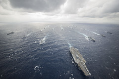 The George Washington Carrier Strike Group and ships of the Japan Maritime Self-Defense Force participate in tactical maneuver training during Annual Exercise (AnnualEx) 13 in November. (U.S. Navy/MC3 Ricardo R. Guzman)