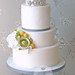 Ranunculus, Rose & Hydrangea wedding cake by The Designer Cake Company