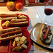 Dinner with the boys. I paired a lovely Oregon Pinot Noir with my turkey dog.