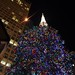 Daley Plaza Christmas tree topped by the United Methodist Church steeple