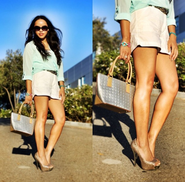 Mint chiffon top, white shorts, silver satchel, glitter heels