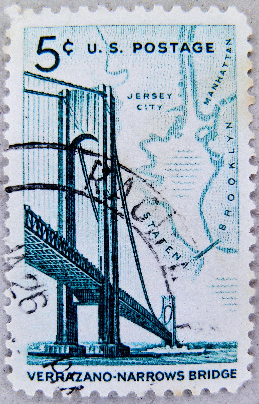 "great stamp USA 5c u.s. postage (Varrazano-Narrows Bridge / Brooklyn-Staten Island; bridge known as ""Start"" of New York City Marathon) United States of America timbre États-Unis u.s. postage почтовая марка США pullar ABD 邮票 美国 Měiguó USA Briefmarken 郵便切手"