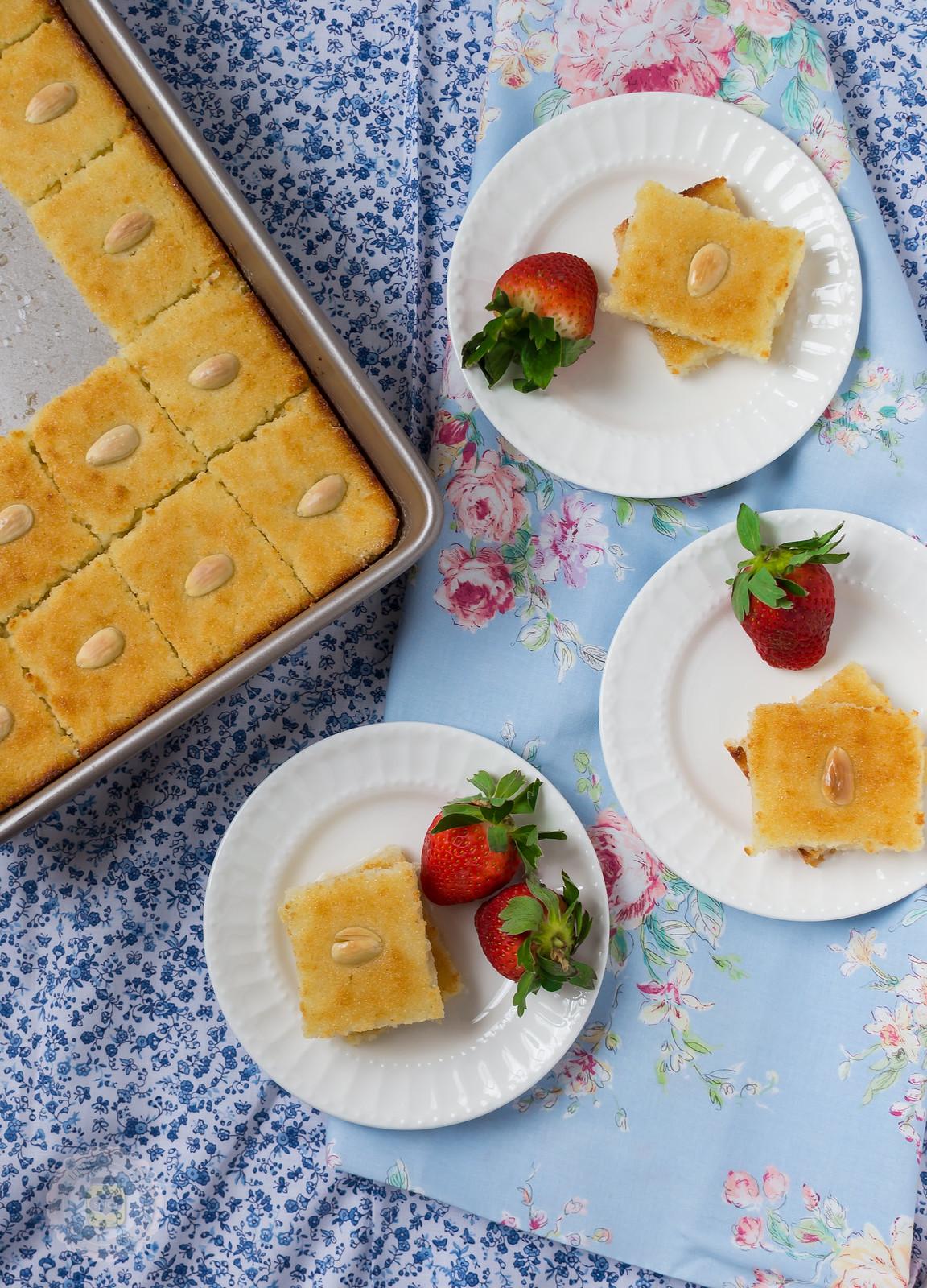 Rosewater and Orange Blossom Semolina Cake Final Top Shot