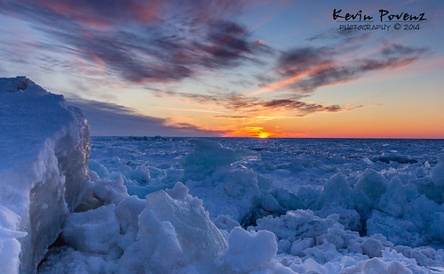 winter sunset sun cold ice beach clouds evening michigan lakemichigan february grandhaven 2014 westmichigan kevinpovenz