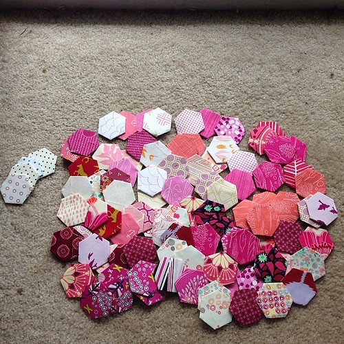 100 basted hexagons. 1/3 of the way done. Not bad for a week of bed rest. #epp