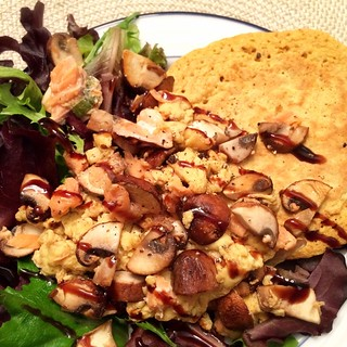 Salmon Scramble + Oat Flatbread