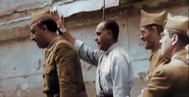 Franco y Varela en Toledo el 29 de septiembre de 1936. Captura de un vídeo real a color de la Guerra Civil en Toledo en el verano de 1936