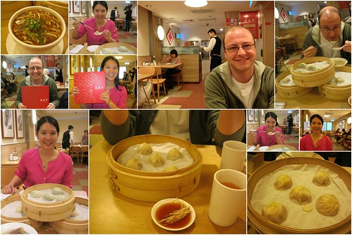 Mei and Dan eating in Din Tai Fung along with pictures of all of their food.