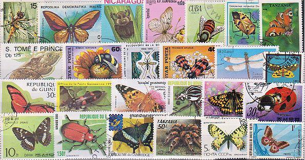 Známky - 50 rôznych, chrobáky a motýle