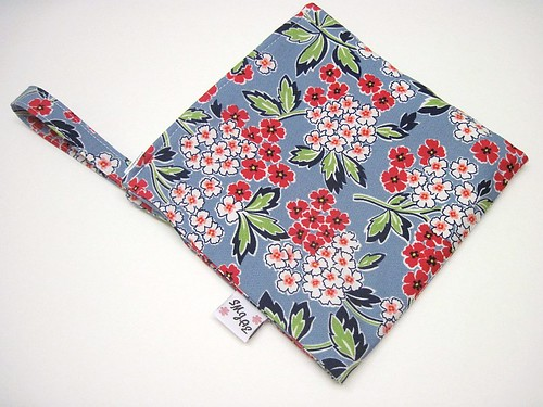 Red and White Floral on Blue Wet/Dry Bag