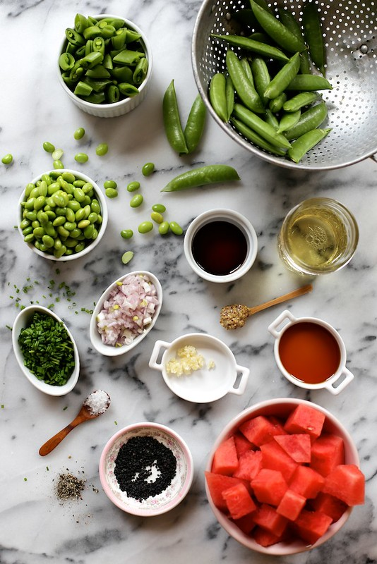 Snap Pea, Watermelon, and Edamame Salad with Sesame Vinaigrette