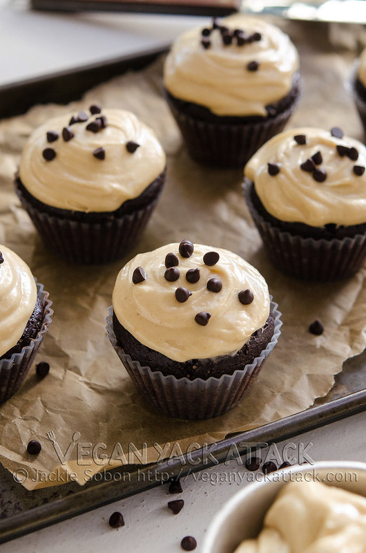 Chocolatey cake topped with insanely good Vegan Peanut Butter Cream Cheese Frosting! Plus, some chocolate chips for good measure.