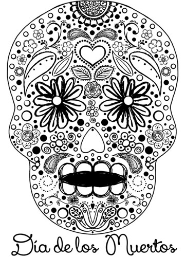 day of the dead coloring page by Heather Says