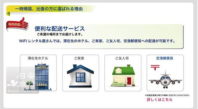 他也提供了机场的邮局取货的服务,机场取货必须加价日币525円,而且