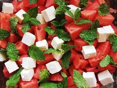hors d'oeuvre(0.0), strawberries(0.0), vegetable(0.0), strawberry(0.0), caprese salad(0.0), plant(0.0), greek salad(0.0), produce(0.0), watermelon(1.0), salad(1.0), fruit(1.0), food(1.0), dish(1.0), cuisine(1.0), feta(1.0),