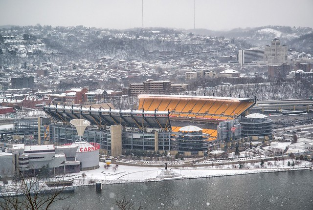 Snow covered Heinz Field from Mt. Washington HDR