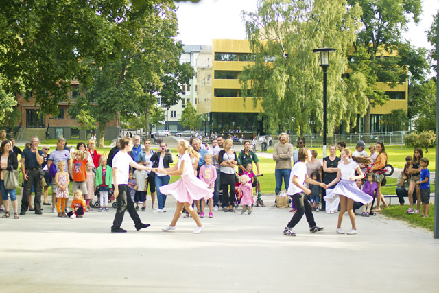 swing dancing in a park