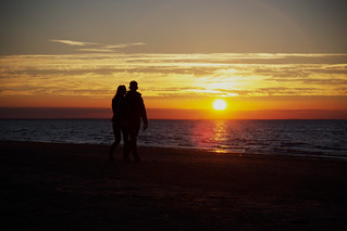 Image of  Majoru pludmale  near  Jūrmala. sunrise couple romantic riga