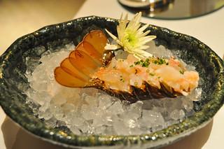 Sashimi de langosta y moluscos