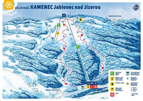 Jablonec nad Jizerou - Kamenec - mapa sjezdovek