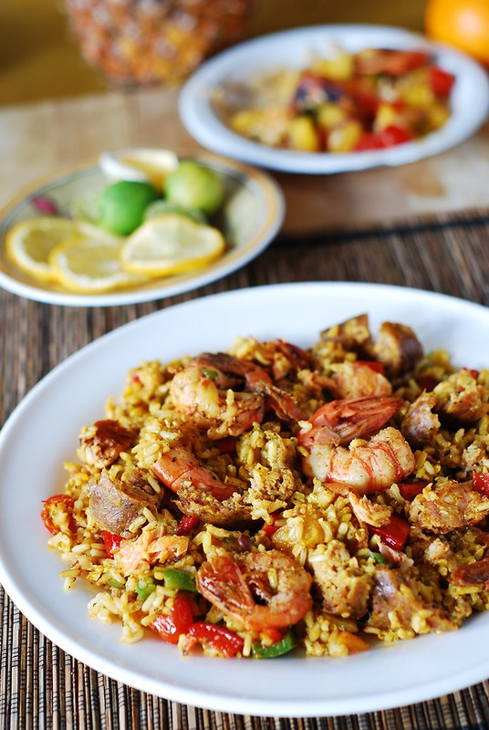 Paella with chicken, shrimp, and sausage