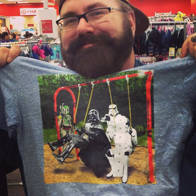 Funny Star Wars T-Shirt with Darth Vader, Boba Fett and Storm Troopers playing on a Swing Set ...