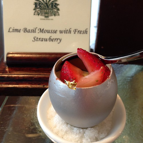 Lime Basil Mousse with Fresh Strawberry at Bar and Billiard Room