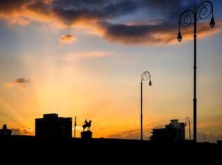 Image of  Monument to Máximo Gómez. sunset urban night cloudy cuba departure