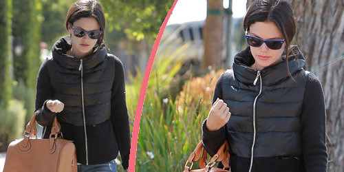 Rachel Bilson in fashionable quilted Jacket