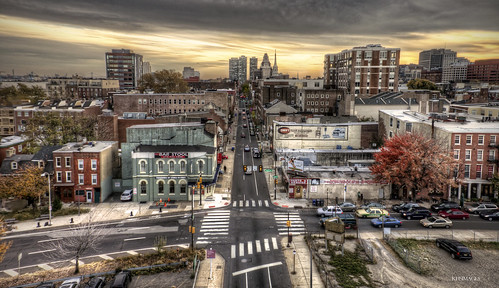 road old city sky urban cloud sun building cars philadelphia car architecture clouds america buildings landscape landscapes community skies cityscape traffic unitedstates pennsylvania district horizon hill cityscapes center neighborhood philly roads society hdr communities districts neighborhoods