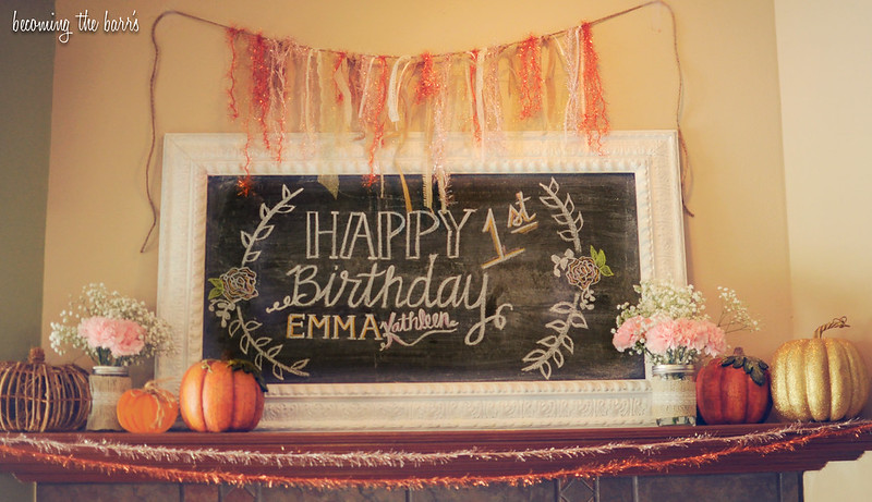 rustic birthday chalkboard sign; Rustic Pumpkin Pink Gold Burlap Lace Birthday party-028