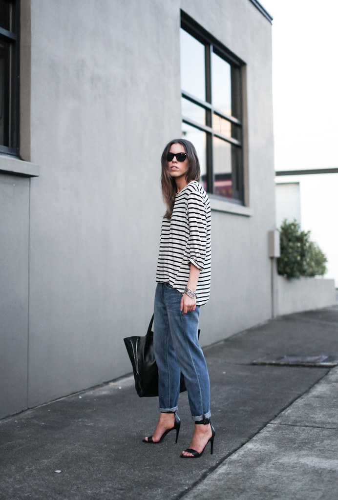 8747e607aef8 modern legacy fashion style blogger australia bassike french stripe  boyfriend jeans tibi amber heels najo chain