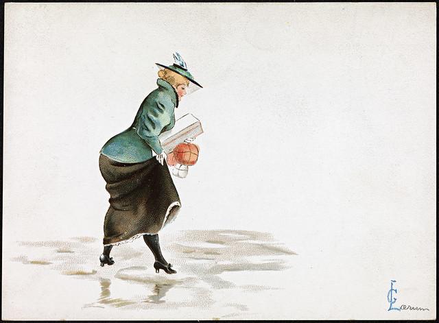 Kvinne med julepakker på glattisen, 1897