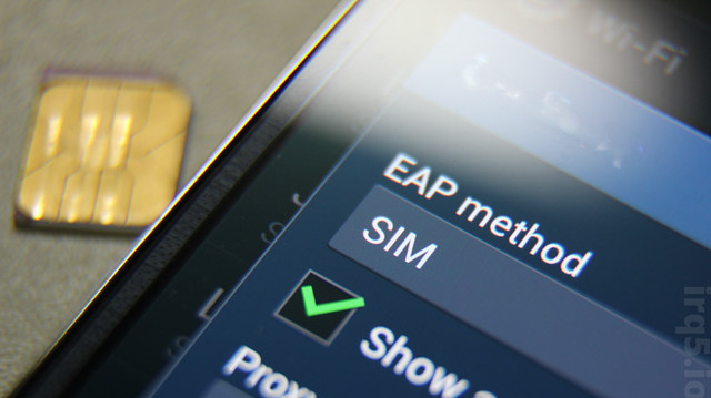 Phone displaying EAP-SIM as a WiFi authentication method